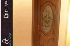 باب فايبر جلاس مع زجاج معشق